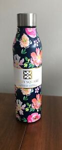 Stainless Steel INSULATED WATER Bottle Dk Blue Floral Mary Square HOT/COLD 17oz