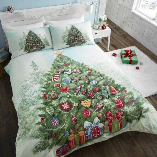 Christmas Tree Xmas Decorated Presents Tree Duvet Cover//Quilt Cover Set Multi