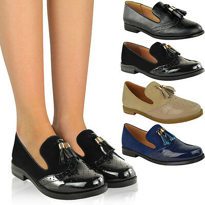 Vintage Women Casual Flats Lace-Up Brogues Pumps Work Office Smart Shoes Loafers