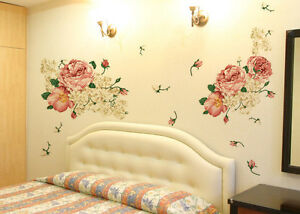 Beautiful-Peony-Flowers-Wall-Sticker-Vinyl-Decal-DIY-Home-Room-Decor-Art-Mural