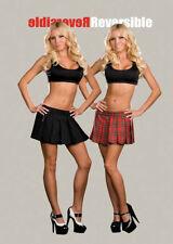 Reversible Ganster & Schoolgirl Skirt Halloween Female Party Costume MEDIUM
