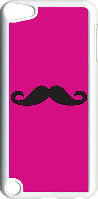 Fuchsia Pink and Black Mustache on iPod Touch 5th Gen 5G White TPU Case Cover