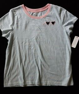 Gymboree-Girl-039-s-Short-Sleeve-Top-Striped-White-Blue-Size-14-NEW