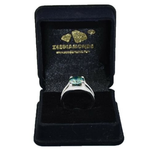 Stunning Blue Diamond Solitaire Men/'s Ring 3.05 ct Certified Great Shine!