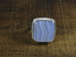 Natural-Blue-Lace-Agate-925-Solid-Sterling-Silver-Ring-Size-US-8-5-r508
