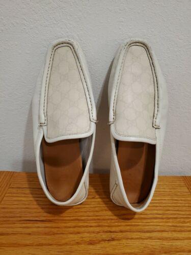 GUCCI Mens White GG Guccissima Leather Moccasins,