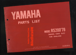 Yamaha-RS200-1979-gt-gt-Genuine-Parts-List-Catalogue-Book-Manual-3L2-RS-200-BW89