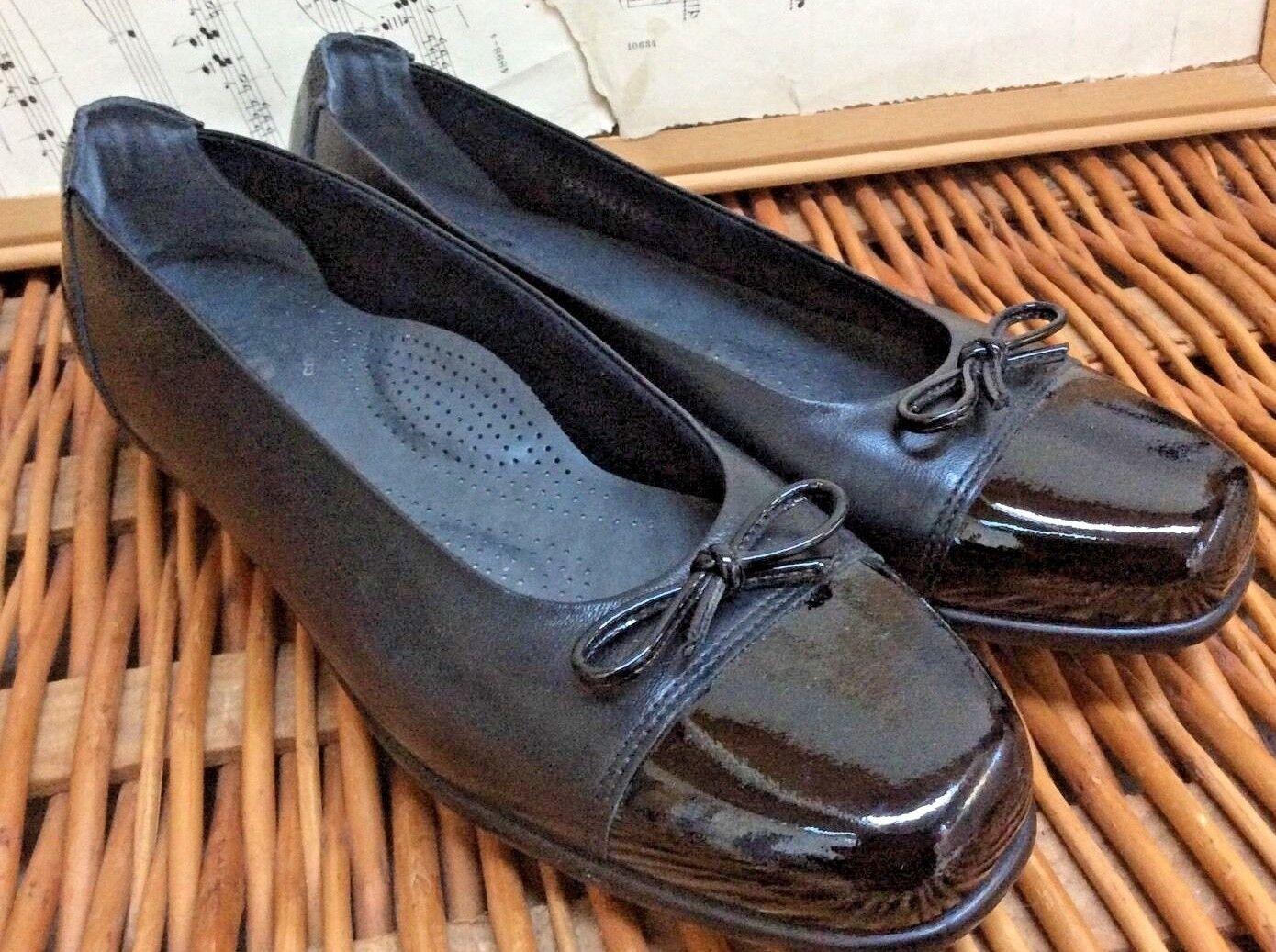Womens BALLET Flats COMFORT shoes Black Leather PATENT BOW 7N TriPad SAS USA