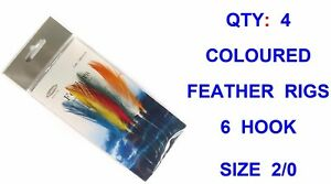4-MULTI-COLOUR-6-HOOK-2-0-MACKEREL-FEATHER-RIGS-SEA-FISHING-SPINNING-ROD-LURES