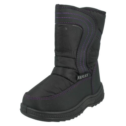 Infant Childrens Reflex H4072 Black Nylon /& Black PVC Warm Lined Snow Boots