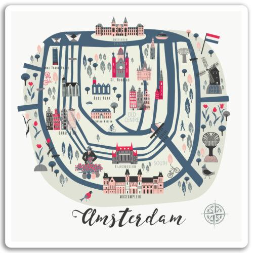 Travel Sticker Laptop Luggage #17072 2 x 10cm Amsterdam Map Vinyl Stickers