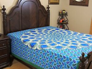 Blue-Green-Peacock-Feather-Cotton-Bedding-Indian-Wall-Tapestry-Bed-Sheet-Full