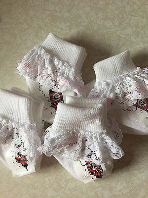 2 pairs of Premature//tiny baby girl lace socks