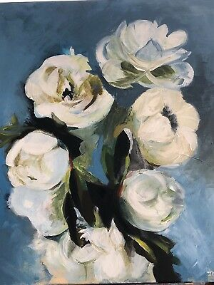 """""""white Roses"""" To Ensure A Like-New Appearance Indefinably Art Precise Original Acrylic Painting On Canvas"""