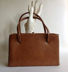 1950s-Faux-Leather-Tan-Vintage-Handbag-Brown-Fabric-Lining-Elbief-Frame