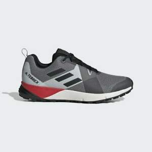 ADIDAS-TERREX-TWO-Men-Trail-Running-Sneakers-Grey-Core-Black-Red-BC0499-sz7-10-5