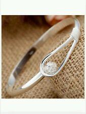 UK 925 sterling silver bangle bracelet friend lady men lover birthday gift