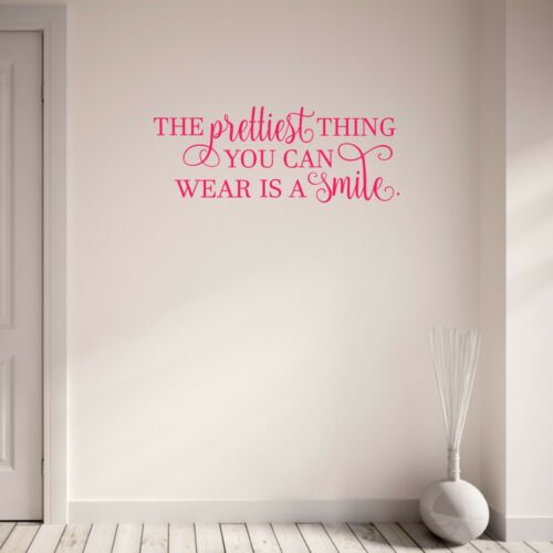 The Prettiest Thing You Can Wear is a Smile Quote Wall Sticker Teen Girls Decal