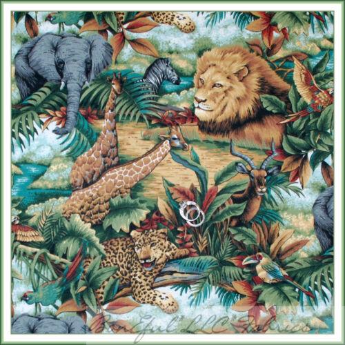 BonEful Fabric BTY 2 YDS Animal Monkey Zebra Elephant Giraffe Bird Safari Jungle