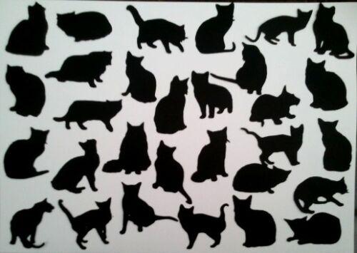 30 x CAT CATS KITTEN KITTENS   SILHOUETTE   Die Cuts Quality  Black Card