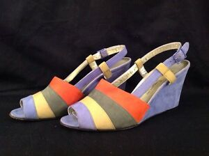 Salvatore Ferragamo Womens Size 6 B Suede Slingback Wedge Heels Peep Toe Shoes