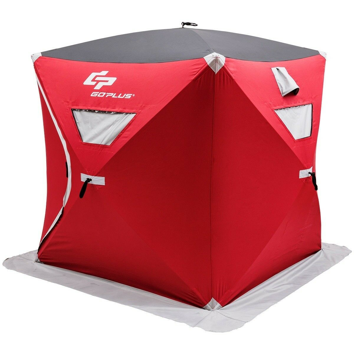3 Persons Portable Pop-up Ice Shelter Fishing Tent Waterproof with Bag Red color