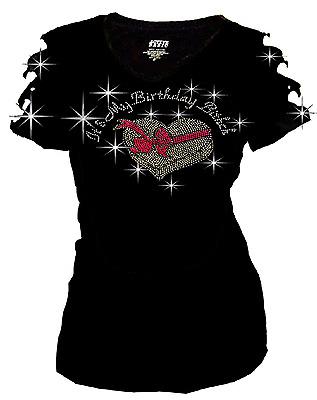 """1X 3X L Womens Rhinestone T-shirt /"""" It/'s My Birthday Bitch /"""" in S M 2X"""