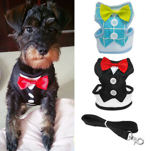 Soft-Mesh-Dog-Harness-and-Leash-Pet-Puppy-Gentleman-Tuxedo-Suit-for-Small-Dogs
