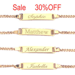 18k Gold Filled Personalized Children Id Bracelet Any Name Boy Or