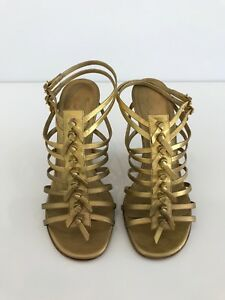 df8623f90be Image is loading YVES-SAINT-LAURENT-YSL-GOLD-GLADIATOR-WEDGE-SANDALS-