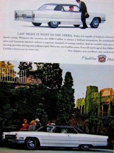 "1966 Cadillac Coupe Deville Last Night Went To Opera Original Print Ad 8.5 x 11/"""