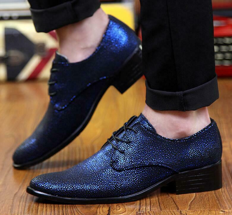 Mens Pointed Toe Shiny Patent Leather Lace Up Dress Casual Nightclub shoes Bt15