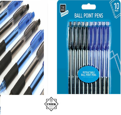 10 x BALLPOINT CLICK PENS Retractable Black//Blue Biro Jotter Comfort Grip Write