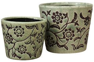 Pot-Set-of-2-Emerald-Floral-Vintage-Antique-Country-Style-Planter-Garden-Plant