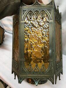 Vintage-Cast-Brass-Hanging-Art-Deco-Hanging-Lantern-Style-Light-fixture-Parts-or