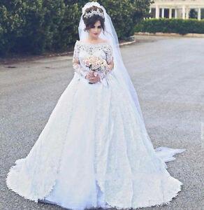 30c6e0750f5 Muslim White Ivory Wedding Dress Lace Bridal Gown Robe de Mariage ...