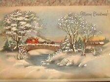 Vintage CHRISTMAS Cards Winter Beauty Glitter UNUSED In Original Box Dickens