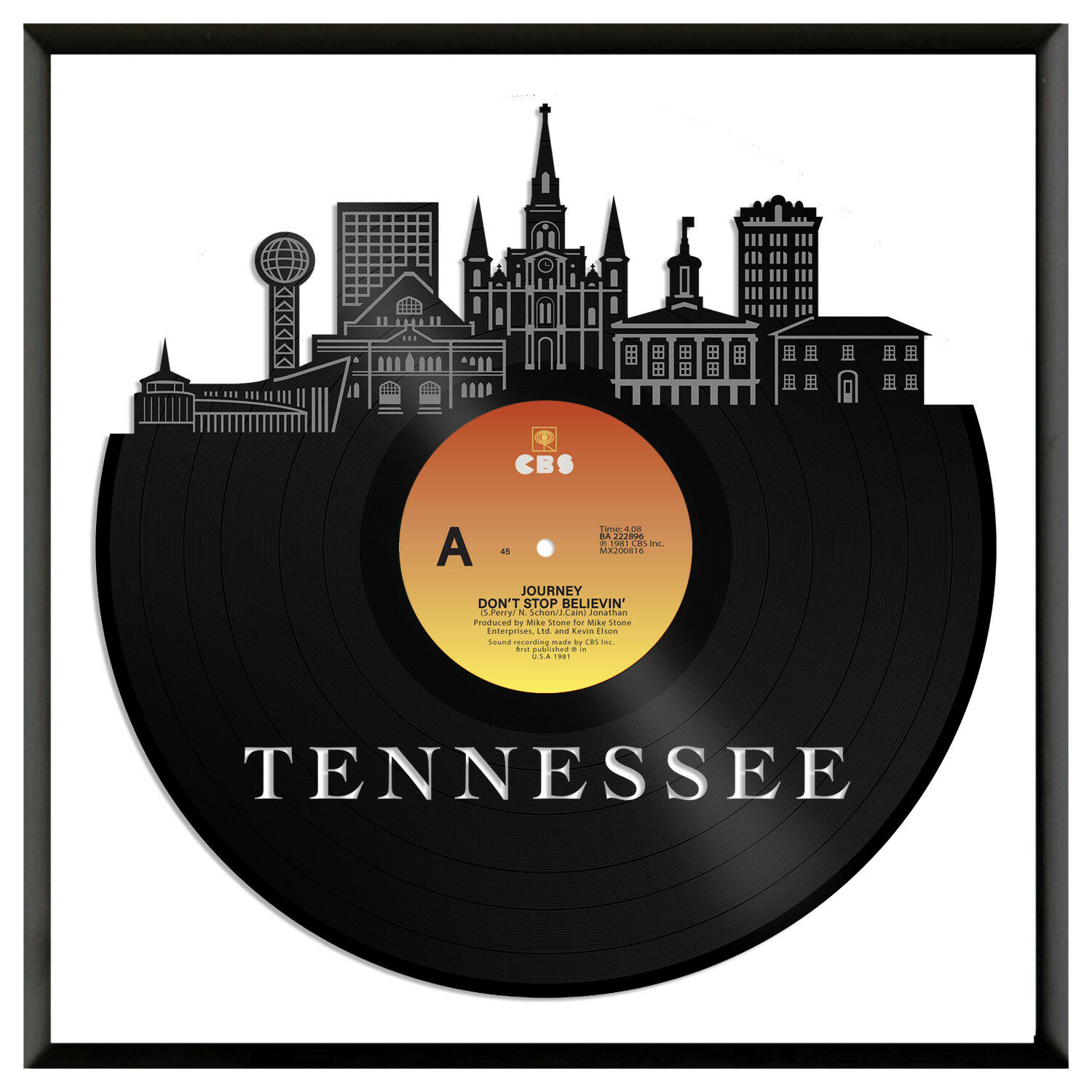 Tennessee Vinyl Wall Art City Skyline Souvenir Anniversary Home Decor Framed