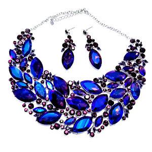Choker-Necklace-Earring-Rhinestone-Austrian-Crystal-Blue-Purple-Pageant-Bridal
