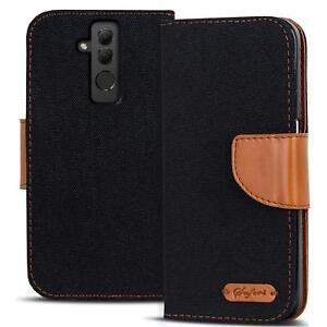 Handy-Tasche-Huawei-Mate-20-Lite-Book-Case-Huelle-Klapphuelle-Flip-Cover-Schwarz