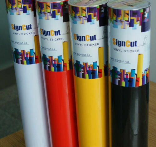 4 Rolls Adhesive Multicolor Vinyl Sticker Roll for Plotter Sign Decal 60cm x 8m
