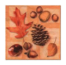 4 Servietten Napkins Tovaglioli  Herbst Blatt Kastanie Nüsse (395)