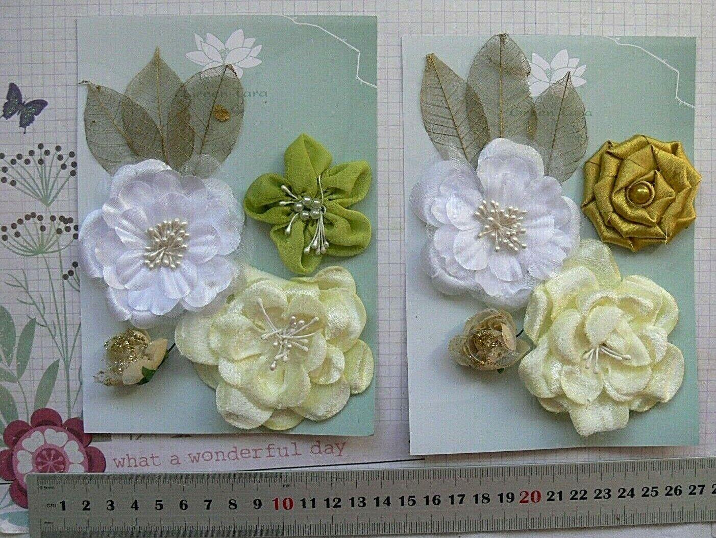 Fabric LEMON LIME BITTERS SatinOrganza 2-7cm 4 Flowers+GoldLeaves 2Pk Choice GT2