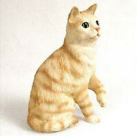 Shorthaired Red Tabby Cat Figurine Statue Hand Painted Resin Gift