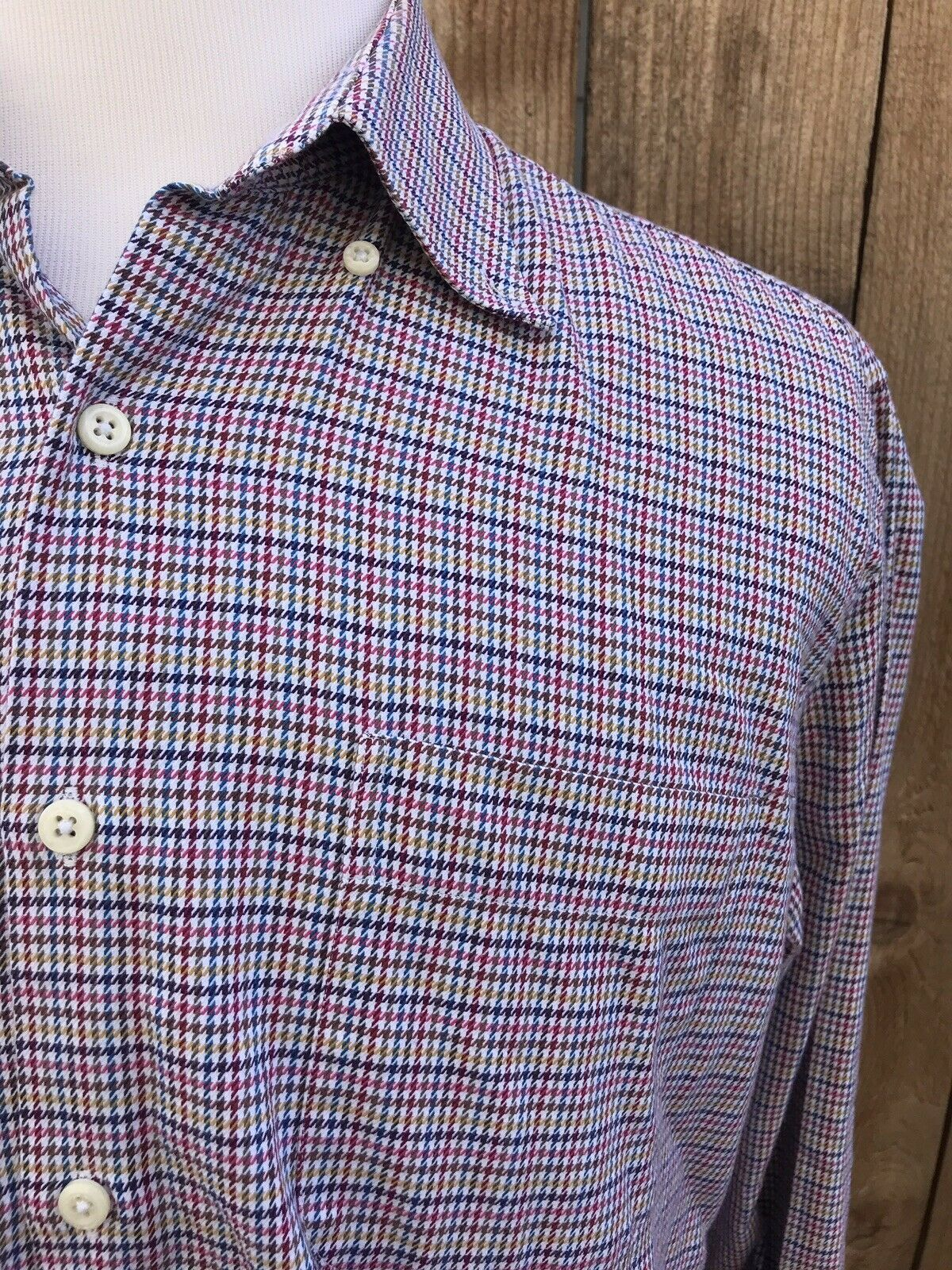 9a8180c1 Peter Millar Multi colord Houndstooth Men's 100% Cotton Shirt Size Large