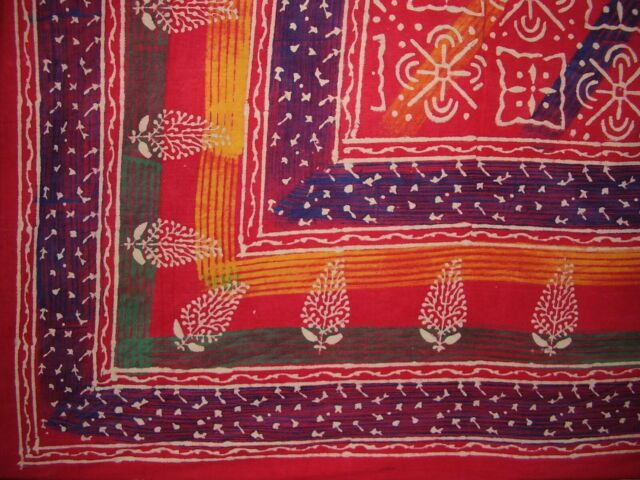 """Indian Print Tapestry Cotton Bedspread 106/"""" x 88/"""" Full-Queen Blue"""