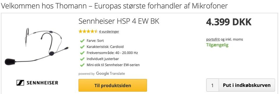 Headmic, sennheiser HSP 4-EW