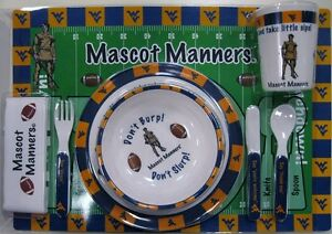 West-Virginia-University-Baby-Dinnerware-set-with-Plates-Utensils-Cup-Placemat