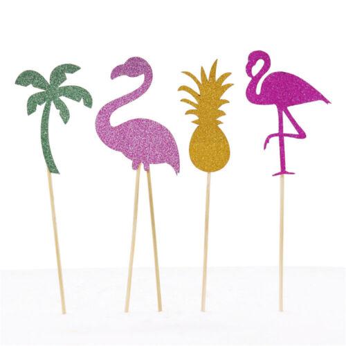 12pcs Glitter Pineapple Flamingo Palm Tree Cake Toppers Birthday Cupcake Topper