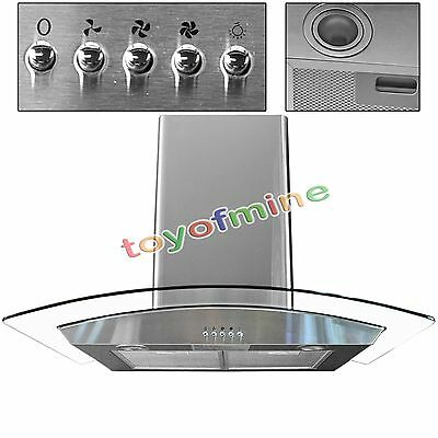 """30"""" Range Hood Kitchen Wall Mount Stainless Steel Glass Stove Vents USA Stock"""